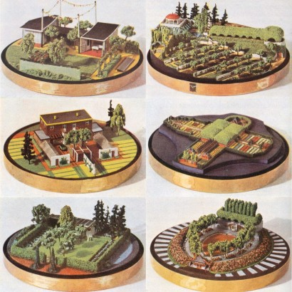 Auf technischer Grundlage erarbeitete Gardentypen die modelle dienen der räumlichen überprüfung der Konzepte und sind das geeignete mittel zur verständigung mit dem laien, kleingärten, privatgarten, erwerbssiedler, friedhof, kleinbürgergarten, sportpark