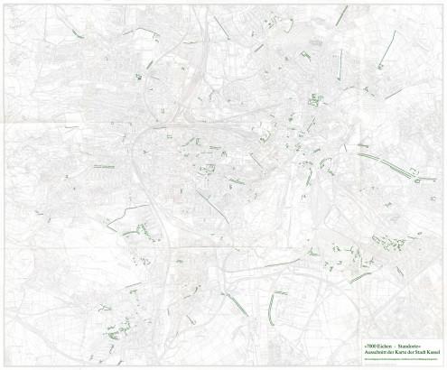 7000 Eichen Standorte, ausschnitt der karte der stadt Kassel