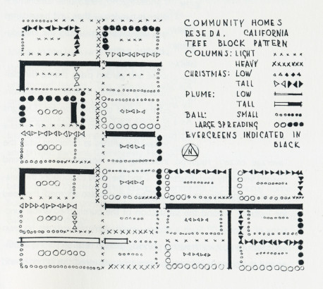 Community homes tree block pattern, Reseda, California