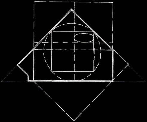 Carrés, rectangles, triangle, cercle, ellipse, plan du jardin de la fondation Cartier