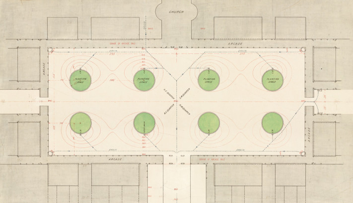 Stanford Leland jr University, main quadrangle plan